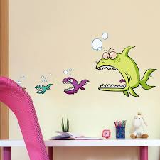 Waliicorners Funny Fish Eat Fish 3d Wall Stickers Home Decor For Kitchen Wall Kids Room Pvc Wall Decals Adhesive Dinner Decoration 47 100cm Waliicorner S Store