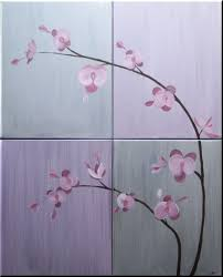 orchid painting lilac and silver huge