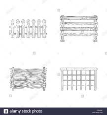 Picket Garden Chain Farm Wooden Rural Rustic Old Gate Fence Railing Wall Entrance Metal Constructor Lattice Projection Front Steel Set Vector Icon Illustration Isolated Collection Design Element Graphic Sign Outline Line Vector Vectors Stock Vector