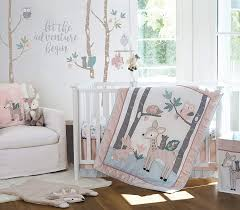Amazon Com Levtex Baby Everly Crib Bed Set Baby Nursery Set Aqua Blush Grey Teal Woodland Deer And Friends 5 Piece Set Includes Quilt Fitted Sheet Diaper Stacker