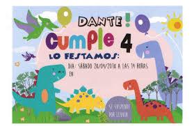 Tarjeta Invitacion Cumpleanos Infantil Dinosaurios Original 4