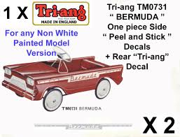 Set Decals Peel Stick Rear Decals For Tri Ang Triang Tm073 Bermuda Pedal Car