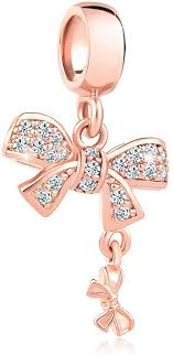 sparkling bow knot charm rose gold