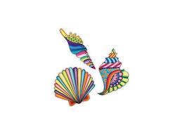 Seashell Stickers Colorful Set Of 3 Car Decal By Megan J Designs Laptop Sticker Window Vinyl Car Sticker Newegg Com