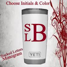 Monogram Personalized Vinyl Decal For Your Yeti Tumbler Stacked Letter Initials Ebay