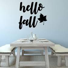 Hello Fall Quote Autumn Themed Vinyl Wall Decal Lettering Home Decor Customvinyldecor Com