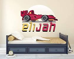 Amazon Com Race Car Custom Name Series Wall Decal Vinyl Sticker Nursery For Home Bedroom Children Arts Crafts Sewing