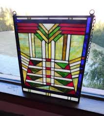 art deco design stained glass window or