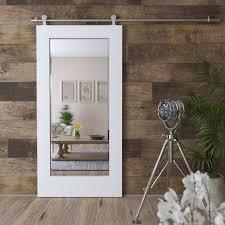 white mirror sliding interior barn door