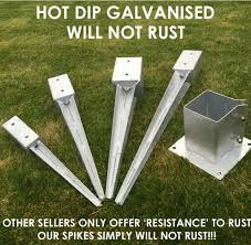 1 50mm X 450mm Bolt Spike Bolt Down Holders Easy Grip 50 75 100mm Garden Timber Support Stakes Fence Post Spikes Shoes