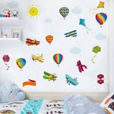 Cartoon Hot Air Ballon Wall Sticker Plane Kites Wall Decals Kids Baby Room Decor Ebay