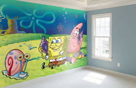 Funny Spongebob Squarepants Kids Room Designs Adorable Sky Blue And Customizable Spongebob Wall Sti Kids Room Wall Stickers Themed Kids Room Kids Wall Decals