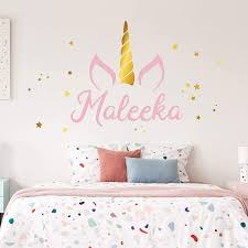 Amazon Com Unicorn Name Wall Decal Custom Name Unicorn Decal Girls Name Decal Personalized Name Unicorn Wall Decal Nursery Decal Girls Room Decal Handmade
