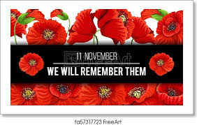 art print of remembrance day vector poppy banner