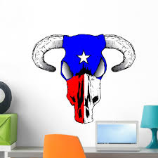 Texas Bull Wall Decal Mural By Wallmonkeys Vinyl Peel And Stick Graphic For Girls 24 In W X 21 In H Walmart Com Walmart Com