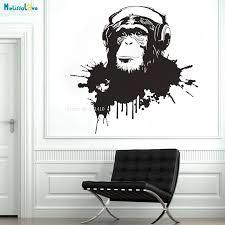 New Design Chimp With Headphone Listening To Music Monkey Wall Art Dj Vinyl Decal Sticker Graffiti Style Removable Murals Yt1591 Wall Stickers Aliexpress