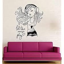 V Studios Wall Decal Music Headphones Teen Girl Room Art Mural Vinyl Stickers Vs2746 Amazon Com