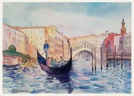 Venice. Grand canal, gondola. A135 - Kavolina - Paintings & Prints,  Buildings & Architecture, City, Cities - ArtPal