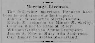 James A New and Mary Ada Anderson marriage license - Newspapers.com