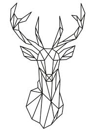 Geometric Deer Head Vinyl Wall Sticker Sticker Worlds