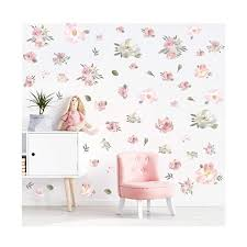 Toarti Watercolor Pink Flowers Wall Decal Blooming Peony Floral Flowers Sticker For Girls Bedroom Wedding Party Decoration 56pcs Colorful Flowers Silk Flower Arrangements