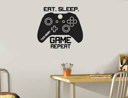 Eat Sleep Game Repeat Controllers Video Game Decal Gaming Accessories Ps4 Xbox Controller Wall Decal Boyfriend Christmas Gift By Expressed In Prints Catch My Party