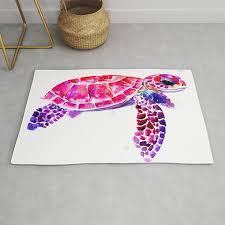 Purple Turtle Bright Pink Purple Blue Turtle Illustration Children Room Decor Rug By Sureart Society6