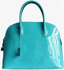 turquoise patent leather handbag