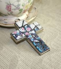 glass mosaic cross pendant