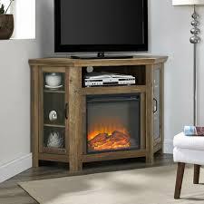 wood corner fireplace media tv stand