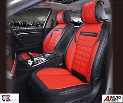 deluxe red pu leather look seat covers