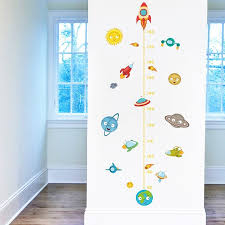 Hot Discount F0e12b Solar System Rocket Height Measure Wall Stickers Kids Nusery Rooms Outer Space Sky Decals Growth Chart Pvc Mural Decor Wall Art Cicig Co