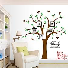 Amazon Com Family Tree Wall Decal With Butterflies And Birds Simple Style Wall Decal Living Room Home Decor Wall Sticker Green Brown Arts Crafts Sewing