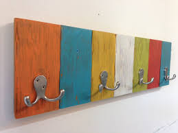 Handmade Kids Coat Hook Rack With Vibrant Fun Colors Perfect For A Child S Room Or The Entryway So Your Child Can Hang Diy Coat Rack Coat Hooks Wood Hangers