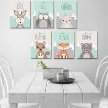 Shop Nordic Cute Animal Canvas Wall Painting Picture Poster Kids Room Bedroom Decor Online From Best Arts Crafts On Jd Com Global Site Joybuy Com