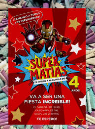 20 Iron Man Vengadores Invitacion Infantil Cumpleanos Comic