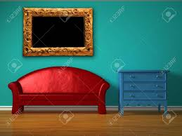 Red Sofa With Blue Bedside Table In Kids Room Stock Photo Picture And Royalty Free Image Image 13101141