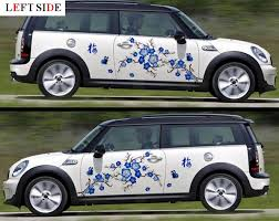 Left Side Car Stickers Blue Plum Blossom Flower Rattan Car Styling Floral Car Body Stickers Graceful Waterproof Vinyl Fresh Car Sticker Car Body Stickervinyl Waterproof Aliexpress