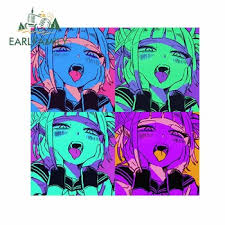 Earlfamily 13cm X 13cm For Ahegao Face Vapor Wave Cartoon Decal Anime Bumper Car Stickers Van Personality Windshield Decoration Leather Bag