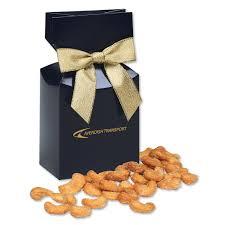 honey roasted cashews in navy gift box