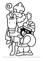 Sint Op Paard Met Zwarte Piet Sinterklaas Kleurplaten