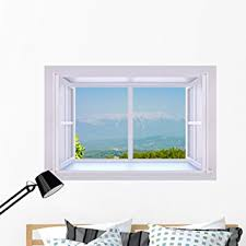 Amazon Com Wallmonkeys Window To Distant Mountains Wall Decal Peel And Stick Graphic 48 In W X 32 In H Wm238225 Kitchen Dining