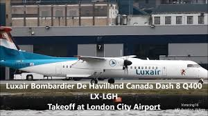 Luxair Bombardier De Havilland Canada Dash 8 Q400 (LX-LGH) Take Off at  London City [1080p HD] - video dailymotion