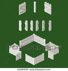Isometric Picket Fence Building Kit Clipart K55564534 Fotosearch