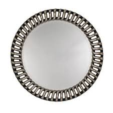 silver and black bevelled wall mirror