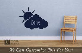 Cloud And Sun Custom Name Wall Decor Vinyl Decal Personalize With A Name For Your Wall For Nursery Or Child Rooms 2463