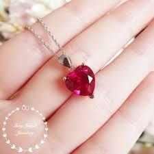 heart shaped ruby necklace heart cut