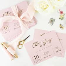 Blush And Gold Foil Calligraphy Wedding Invitations Atten By