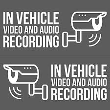In Vehicle Video And Audio Recording Vinyl Decal Stickers Dashcam Decals 4x 2x For Driver Side 2x For Passenger Side White 5 5 W Uber Lyft Rideshar Vinyl Decal