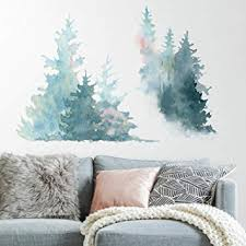 Roommates Watercolor Pine Tree Peel And Stick Giant Wall Decals Amazon Com